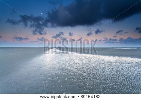 Moon Over North Sea Coast