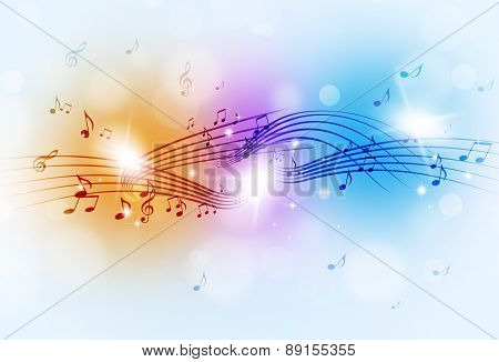 Music Notes Multicolor Background