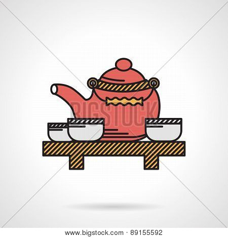 Flat vector icon for tea time