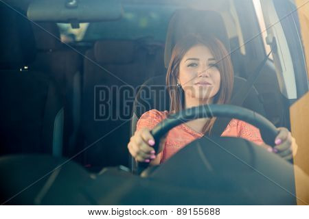 Hispanic Woman Driving