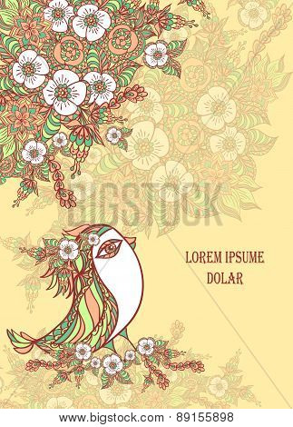Background with spring doodle bird and flowers in beige