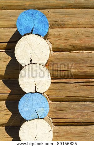 Wooden Log Cabin Wall, Background.