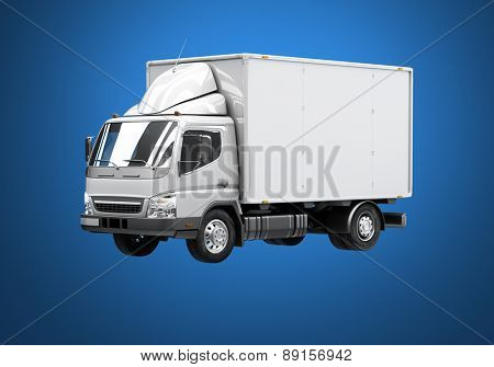 3d courier service delivery truck icon with blank sides ready for custom text and logos