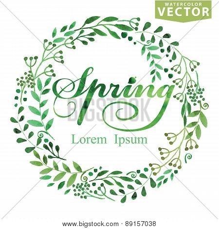 Watercolor Spring Background.Word,wreat,brunshes