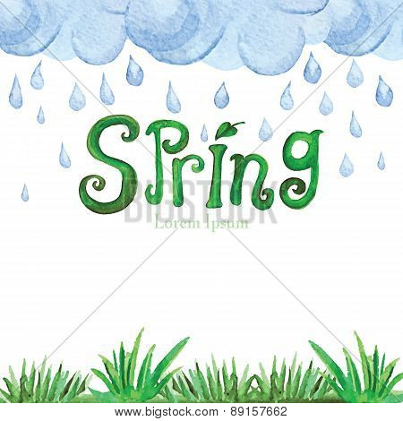Watercolor Spring Background.Green grass,word,clouds