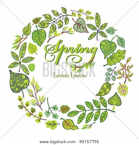 Spring composition,background.Green Leaves,branches wreath