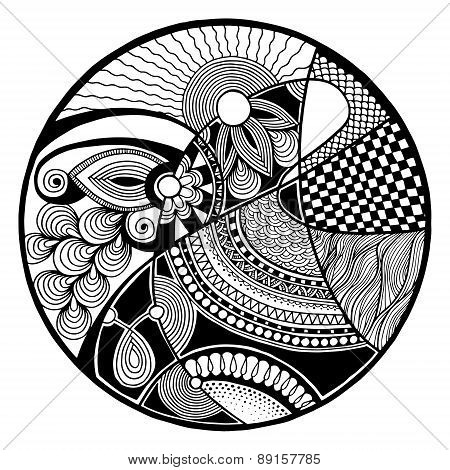 Black and white abstract zendala on circle