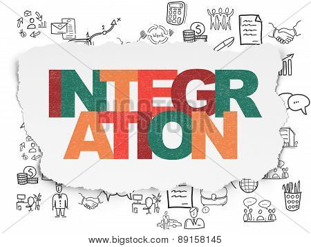 Business concept: Integration on Torn Paper background