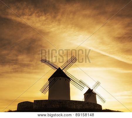 Windmills In Castilla La Mancha Spain