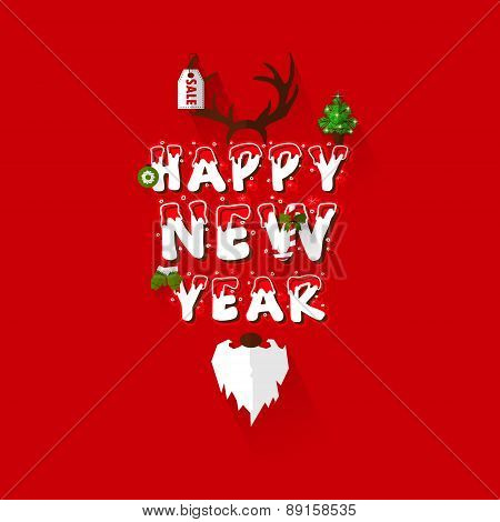 Happy New Year Greeting Type Design