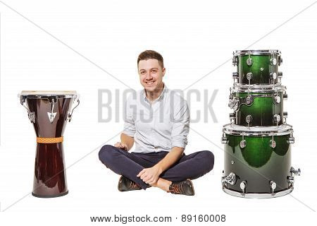 Djembe Drums And Near Men