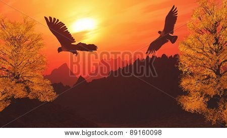 3D render of a mountain landscape with eagles flying in the sky
