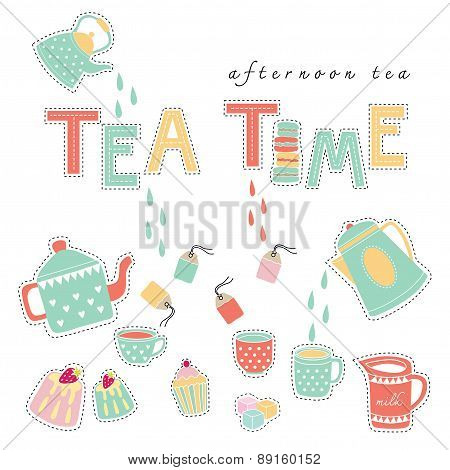 Tea Time Doodle Illustration Pastel Color Vector