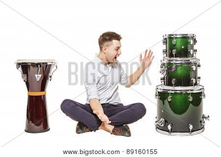 Man In Awe Of The Drum