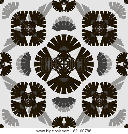 Stylish Modern Black And White Seamless Pattern With Elements Of Fan