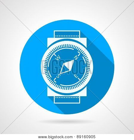 Compass flat round vector icon