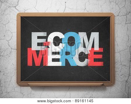 Business concept: E-commerce on School Board background