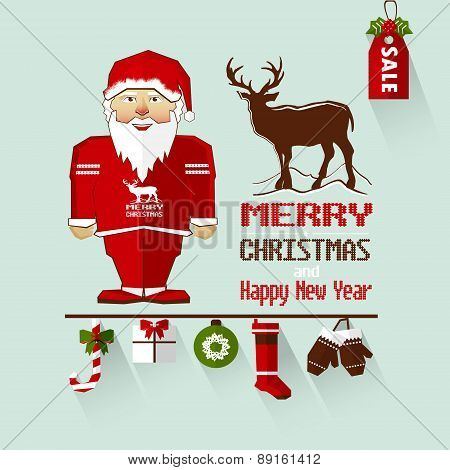 Santa Claus With Deer And Gifts.