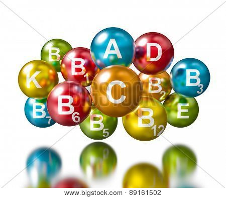 Vitamins concept -spherical pills with vitamin names on white with reflection
