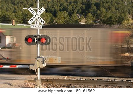 Motion blurred railroad locomotive