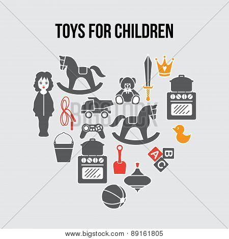 Heart Shape Children Toys Gift Shop Card, Vector llustration