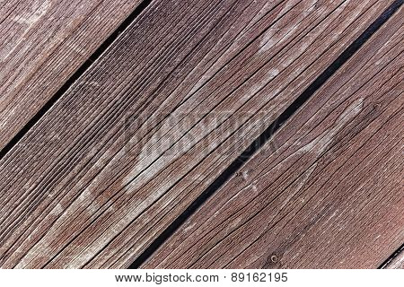 Diagonal Wooden Vintage Planks Closeup