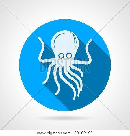 Octopus flat round vector icon
