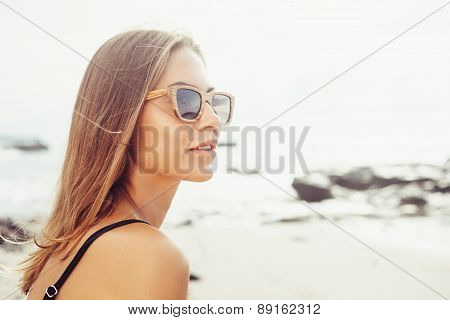 Woman Fresh Face Smiling On The Beach Of Tropic Island