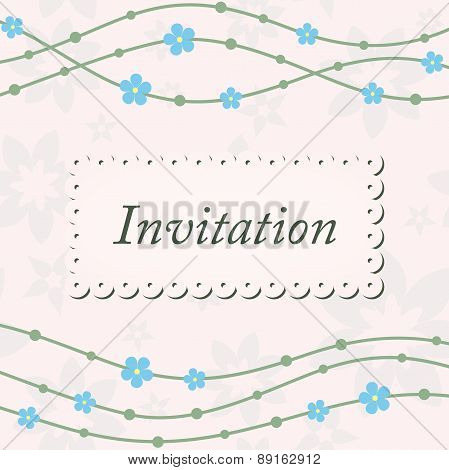 Invitation card with waves and blue flowers on beige background