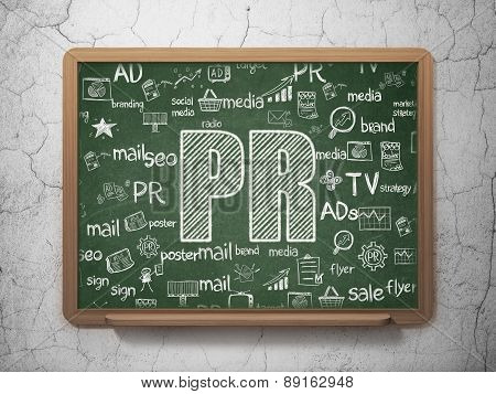 Marketing concept: PR on School Board background