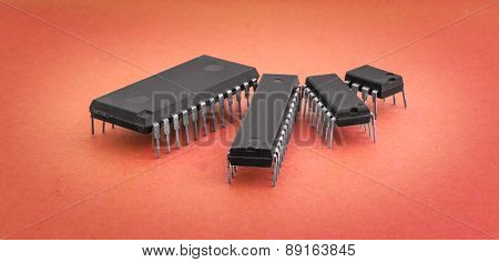 Various Integrated Circuits On A Colored Background