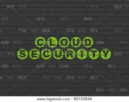 Cloud networking concept: Cloud Security on wall background