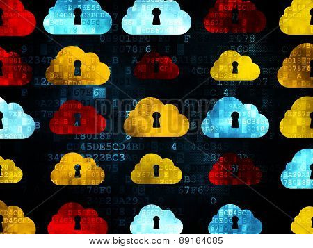 Cloud computing concept: Cloud With Keyhole icons on Digital background