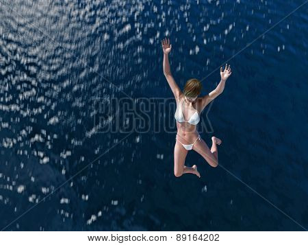woman jumping in the blue sea