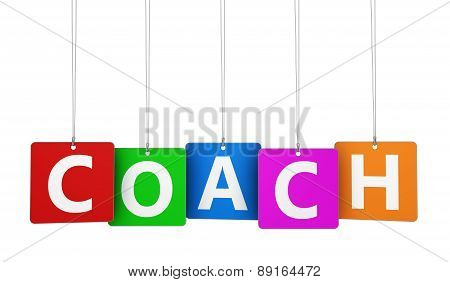 Coach Sign On Colorful Tags
