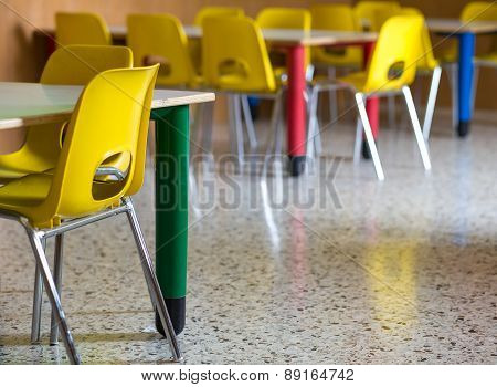 Plastic Chairs In The Nursery Kindergarten Class