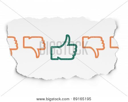 Social network concept: thumb up icon on Torn Paper background