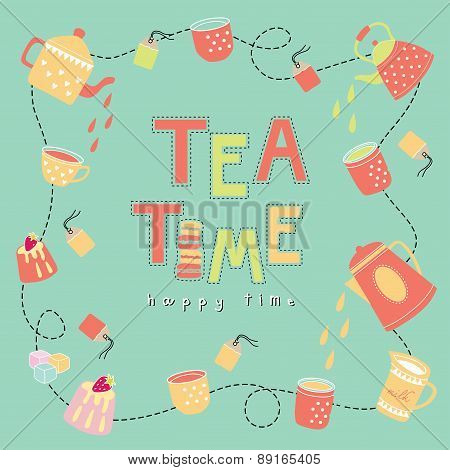 Tea Time Happy Time Doodle Illustration Pastel Color Vector