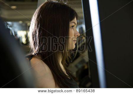 Closeup Of A Young Girl In The Gym.