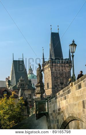 View On Charles Bridge In Prague