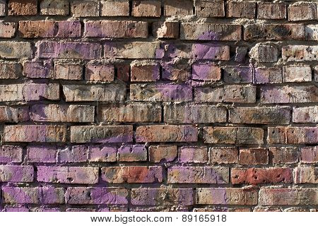 Old Brick Wall Background With Elements Of Paint