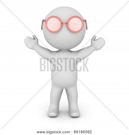 3D Character Wearing Pink Glasses