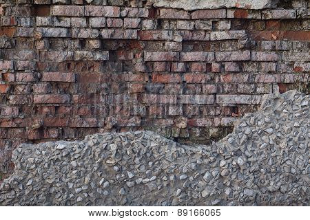 Background Old Ruined Brick Wall. Vintage Red Brick Wall