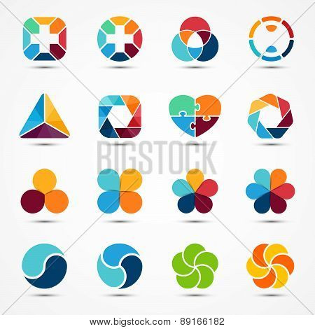 Logo templates set. Modern vector abstract circle creative sign or symbol. Design geometric element