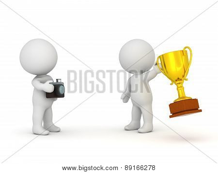 3D Character Taking Photo of Winner with Gold Trophy