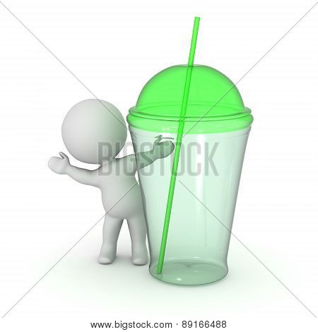 3D Character Waving from Behind Green Glass Cup with Straw