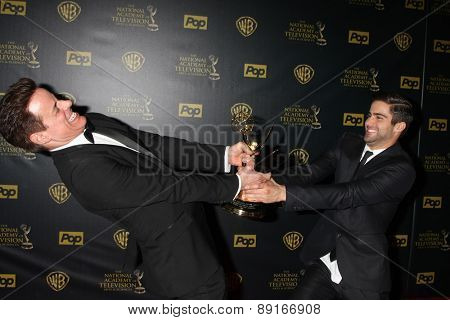 LOS ANGELES - APR 26:  Christian LeBlanc, Max Erlich at the 2015 Daytime Emmy Awards at the Warner Brothers Studio Lot on April 26, 2015 in Los Angeles, CA