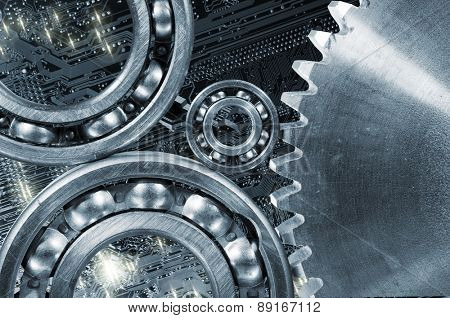 computer calibrated gears and cogs, circuit-board and titanium cogwheels