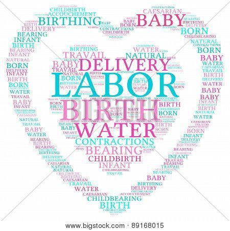 Labor and Birth Heart Shaped Word Cloud