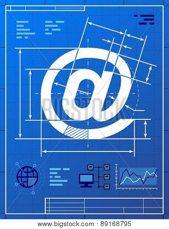 Email Symbol Like Blueprint Drawing